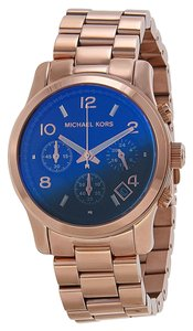Michael Kors Blue Dia Rose Gold Stainless Steel Modern Casual Ladies Watch
