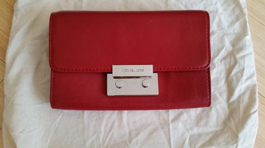 Michael Kors Leather Cross Body Red Clutch