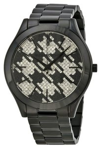 Michael Kors Black Ion Plated Houndstooth Crystal Pave Dial Casual Ladies Watch