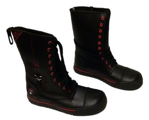 T.U.K Emily The Strange Face Alternative Goth Dark Black with Red trim Boots