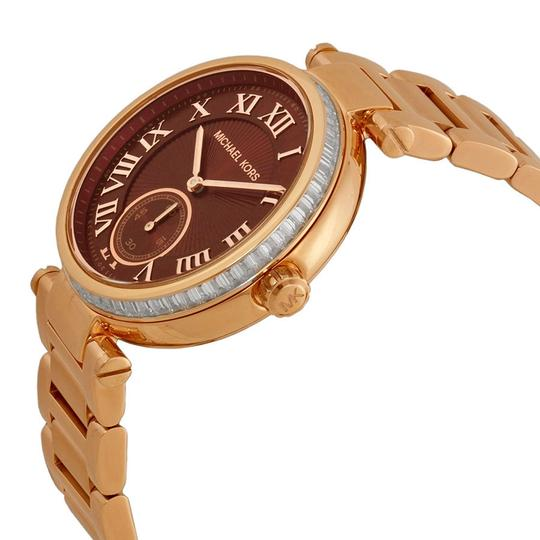 Michael Kors Red Dial Crystal Bezel Rose Gold Round Stainless Steel Ladies Watch