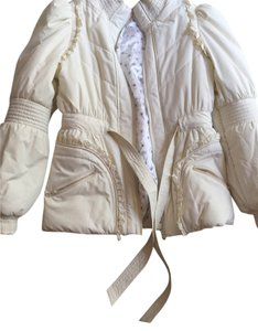 Anthropologie Puffy Winter Cold Heavy Medium Feminine White Snow Fitted Cinched Waist Coat