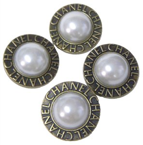 Chanel 4 Large Chanel Faux Pearl Buttons - ANTIQUE GOLDTONE Metal