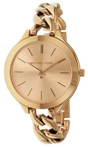 Michael Kors Chain Twist Bracelet Rose Gold Round Dial Ladies Casual Watch