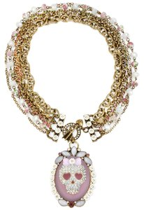 Betsey Johnson Betsey Johnson Girlie Grunge Skull Cameo Floral Crystal Statement Necklace