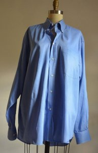 Valentino Authentic Valentino Long Sleeve Sz Medium Blue 100% Cotton Mens Dress Shirt