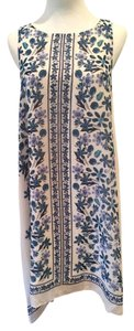 Max Studio short dress Cream and blue Floral High Neckline on Tradesy