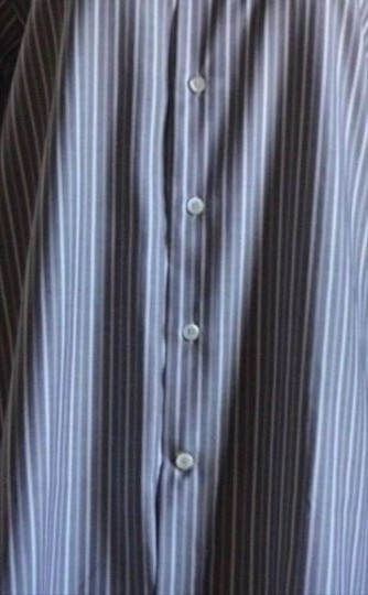 Canari Blue Grey Stripe Dress Made In Italy Size Euro 41/16 Mint Shirt