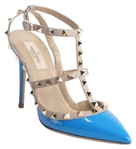Valentino Studded Pointed Toe Colorblock Nwt Blue Pumps