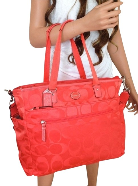 Item - Signature Changing Laptop Tote Red Hot Orange Nylon Diaper Bag