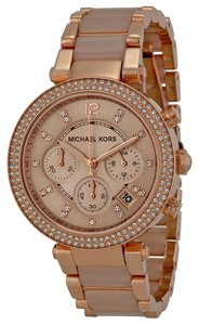 Michael Kors Blush Acetate Rose Gold Crystal Pave Ladies Casual Watch
