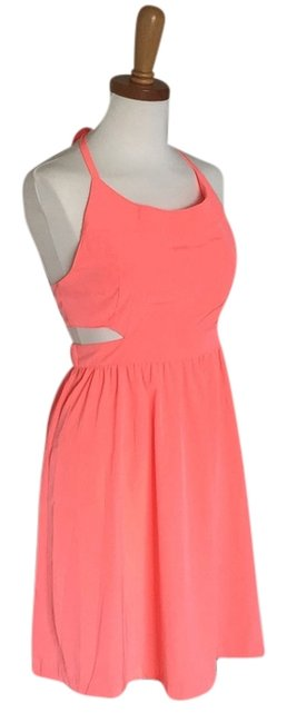 Item - Coral Neon with Cutouts Above Knee Night Out Dress Size 8 (M)