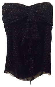 The Limited Dot Silk Sheer Date Night Sweetheart Strapless Ruffle Top Black with polka dots