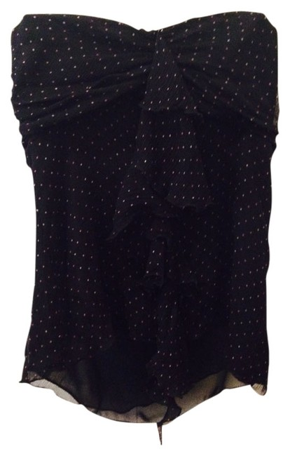 The Limited Silk Sheer Sweetheart Strapless Ruffle Top Black with polka dots