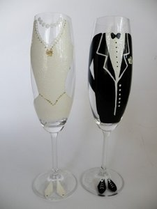 Other Hand Painted Toasting Flutes Set Of 2 Pers Reception Decoration