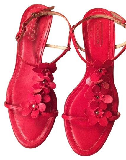 Coach Leather Leather Flowers Kitten Heel Wooden Heel Strappy Red Sandals