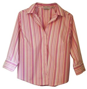 Eddie Bauer Striped Petite Button Down Shirt pink, peach, & white