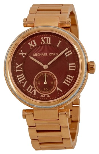 Michael Kors Red Dial with Crystal Bezel Stainless Steel Rose Gold Ladies Watch