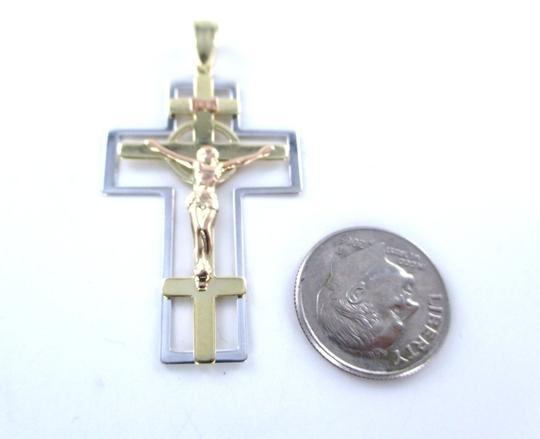 Other 14K SOLID YELLOW GOLD PENDANT CROSS CRUCIFIX JESUS MADE IN TURKEY FINE JEWELRY