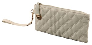 Beige Off White Ivory Wristlet in Tan