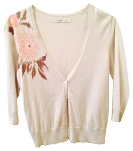 Old Navy V-neck Cream Floral Casual Lightweight Cardigan