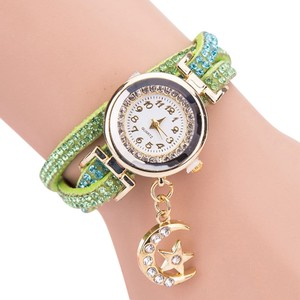 Rhinestone Leather Bracelet Watch Free Shipping