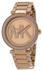 Michael Kors Crystal pave MK logo Dial Rose Gold Ladies Luxury Watch