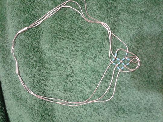 Other sterling and silver/blue beads necklace