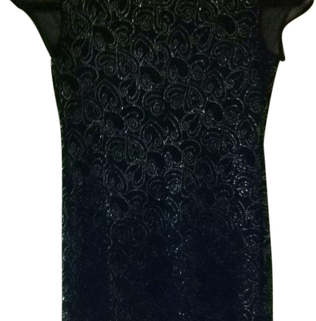 Item - Black and Silver Cap Sleeve Stretchy Cocktail Dress Size 8 (M)