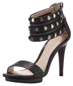 Pelle Moda Cuff Occasion Open Toe Zip Studded Black Sandals