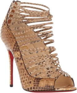 Christian Louboutin Gortika Snakeskin Python Strappy Ankle Sandals Open Toe Brown, Beige Boots