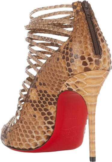 Christian Louboutin Gortika Python Ankle Open Toe Brown, Beige Boots