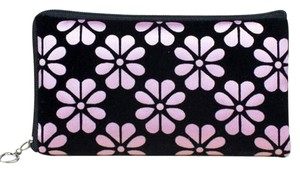Pink & Black Floral Coin Purse Cosmetic Bag Free Shipping
