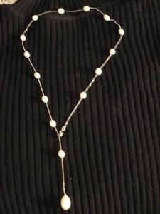 Genuine Fresh Water Pearl adjustable necklace on metal alloy
