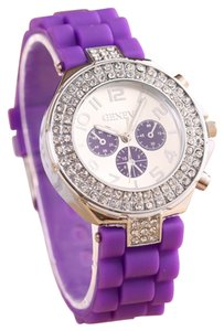 Geneva Purple Quartz Rhinestone Sports Watch Free Shipping