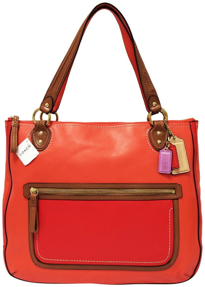 Coach Poppy Leather Shoulder Satchel Tote In Sun Orange