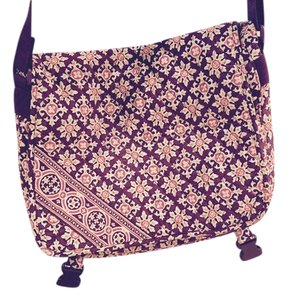 Vera Bradley Messenger Back Pack Laptop Printed Burgundy Cross Body Bag