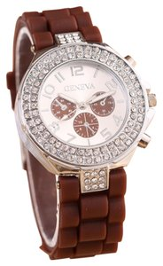 Geneva Rhinestone Silver & Brown Rubber Sports Watch Free Shipping