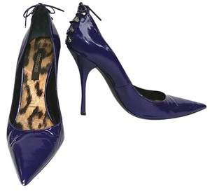 Roberto Cavalli Patent Leather Pointed Toe Purple Pumps