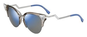 Fendi Fendi 0041/S Crystal 52mm Tipped Cat Eye Sunglasses Trans Dove Grey/Khaki Blue