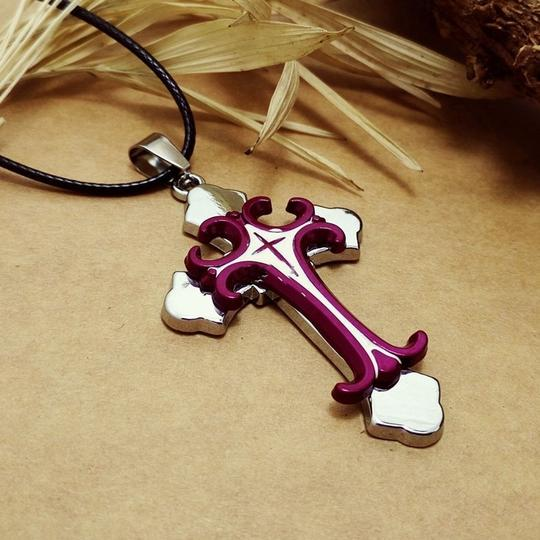 Other BOGO Purple Stainless Steel 3D cross necklace free shipping