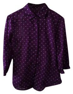 The Limited Polka Dot Button Down Button Down Shirt Purple