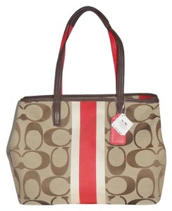 Coach Tote in Khaki / Vermillion