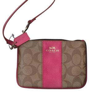 Coach Coach Signature Khaki and Pink Ruby Small iPhone Smartphone Wristlet