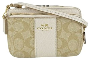 Coach Coach Signature Stripe Light Khaki/ Chalk Double Zippy iPhone 6 Smartphone Wristlet
