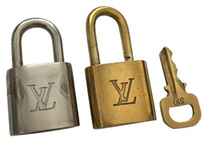 Louis Vuitton Louis Vuitton Gold Tone Brass 2 Locks (Gold Polished and Silver Brushed) And Key #310 (Pair-M) For Speedy 25 30 35 Keepall 45 50 55 60 Sac Souple Alma