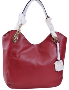 Michael Kors 35t0gllt3l Lamb Leather Tote in Dark Red