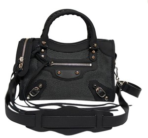 Balenciaga Rubberized Leather Mesh 2015 Collection Cross Body Bag