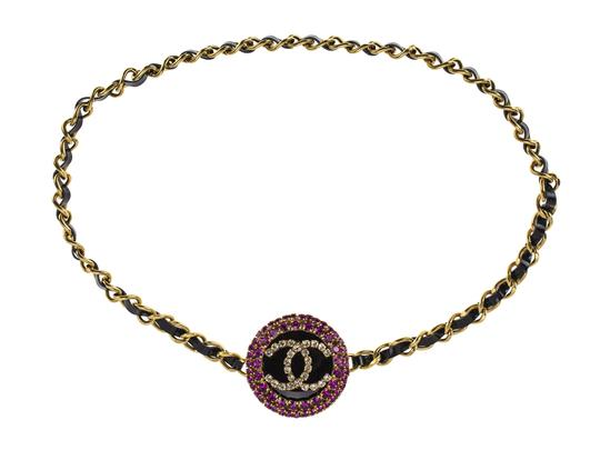 Chanel Chanel 95PCC Pink and Clear Rhinestone Pendant Chain Necklace