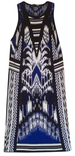 Preload https://item2.tradesy.com/images/roberto-cavalli-black-blue-and-white-ikat-print-knitted-knee-length-cocktail-dress-size-2-xs-5363476-0-0.jpg?width=400&height=650